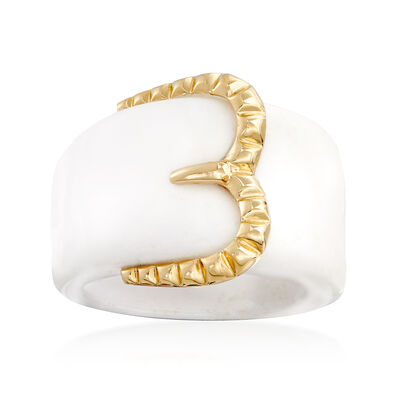 White Agate Buckle Ring with 14kt Yellow Gold, , default
