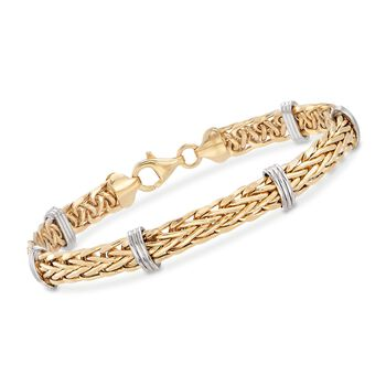 14kt Two-Tone Gold Wheat Link and Bar Station Bracelet, , default