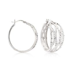 "Sterling Silver Multi-Row Wavy Hoop Earrings. 1 1/4"". , , default"