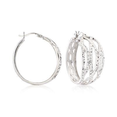 Sterling Silver Multi-Row Wavy Hoop Earrings , , default