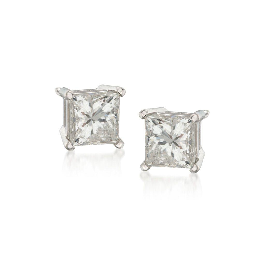 1 50 Ct T W Princess Cut Diamond Stud Earrings In 14kt White Gold Ross Simons
