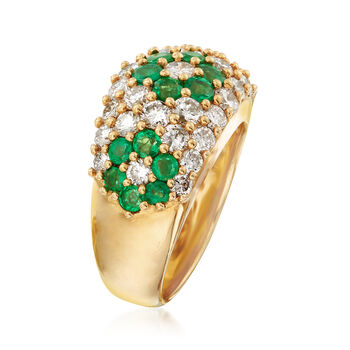 C. 1980 Vintage 1.28 ct. t.w. Emerald and 1.93 ct. t.w. Diamond Flower Ring in 18kt Yellow Gold. Size 6.5, , default