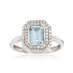 .90 Carat Aquamarine and .20 ct. t.w. Diamond Ring in 14kt White Gold, , default