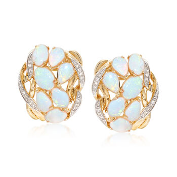 Opal and .12 ct. t.w. Diamond Earrings in 14kt Yellow Gold, , default