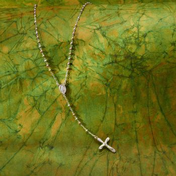 """Tri-Colored Sterling Silver Rosary Cross Necklace. 17"""", , default"""