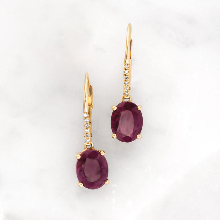 5.00 ct. t.w. Ruby Drop Earrings in 14kt Yellow Gold with Diamond Accents