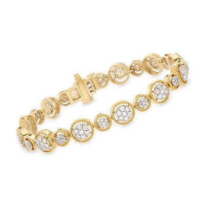 2.00 ct. t.w. Diamond Milgrain Bracelet in 18kt Gold Over Sterling, , default