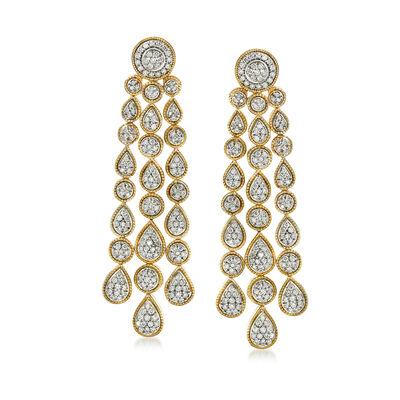 1.80 ct. t.w. Diamond Drop Earrings in 14kt Yellow Gold, , default