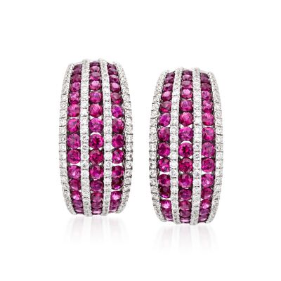 2.70 ct. t.w. Ruby and 1.00 ct. t.w. Diamond Hoop Earrings in 18kt White Gold, , default