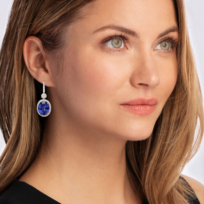 30.00 ct. t.w. Tanzanite and 1.94 ct. t.w. Diamond Drop Earrings in 18kt White Gold