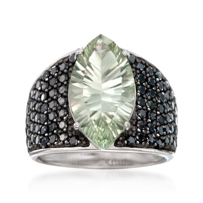 3.20 Carat Green Prasiolite and Black Spinel Ring in Sterling Silver, , default