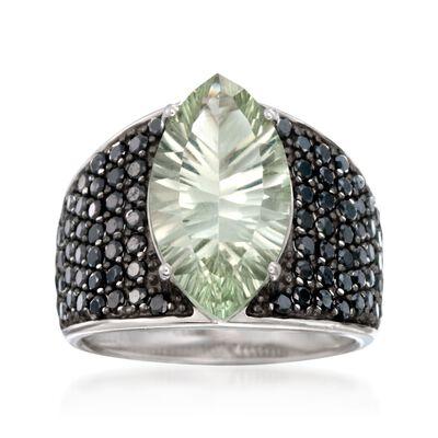 3.20 Carat Green Prasiolite and Black Spinel Ring in Sterling Silver, , default