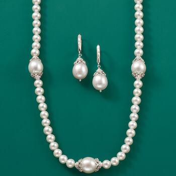 10-11mm Cultured Pearl Drop Earrings in Sterling Silver, , default
