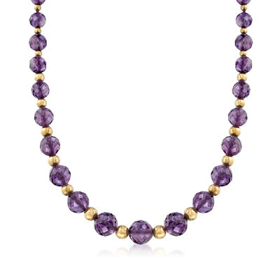 C. 1980 Vintage Faceted Amethyst and 14kt Yellow Gold Bead Necklace, , default