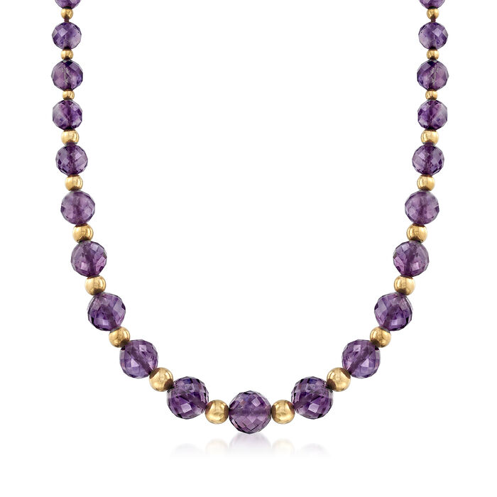 "C. 1980 Vintage Faceted Amethyst and 14kt Yellow Gold Bead Necklace. 22"", , default"