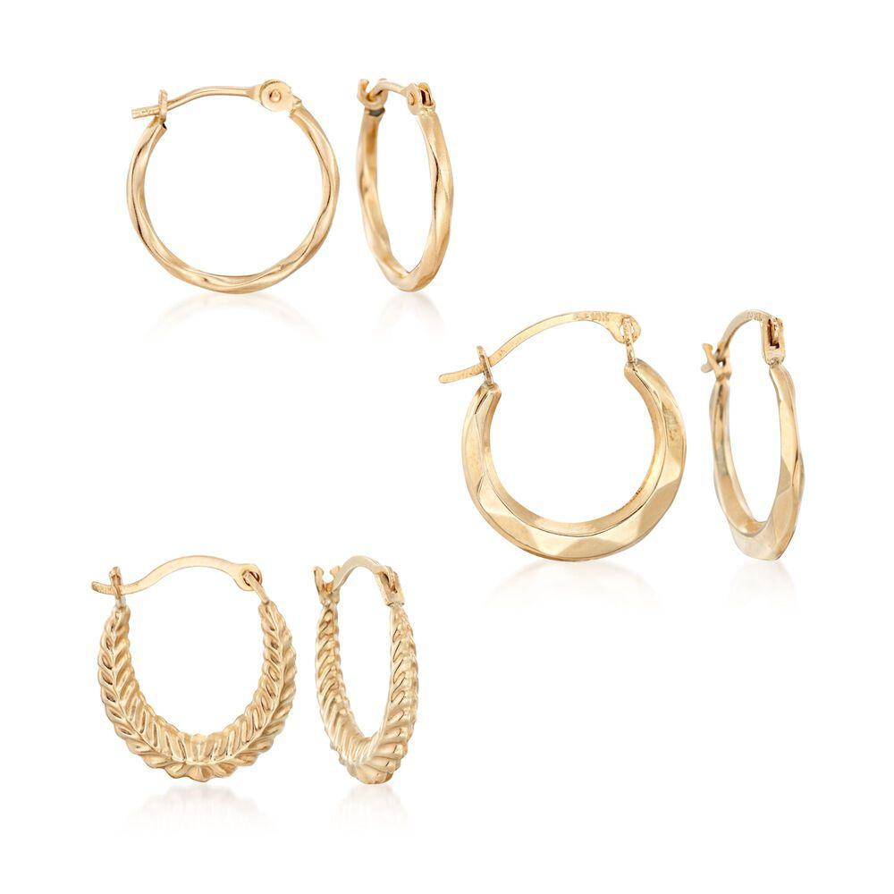 14kt Yellow Gold Jewelry Set Three Pairs Of Huggie Hoop Earrings Default