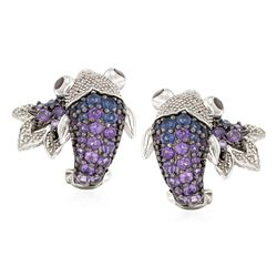 .90 ct. t.w. Amethyst and .35 ct. t.w. Iolite Koi Earrings With Diamonds and Garnets in Sterling Silver, , default