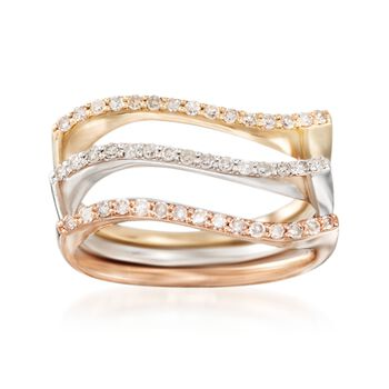 .33 ct. t.w. Diamond Jewelry Set: Three Wavy Rings in 14kt Tri-Colored Gold, , default