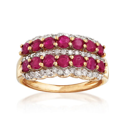 1.70 ct. t.w. Ruby and .39 ct. t.w. Diamond Multi-Row Ring in 14kt Yellow Gold