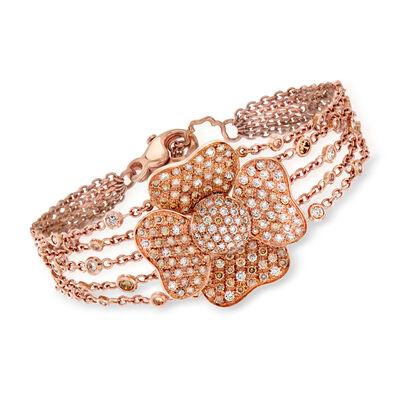 C. 1990 Vintage 2.75 ct. t.w. Diamond Flower Bracelet in 18kt Rose Gold, , default