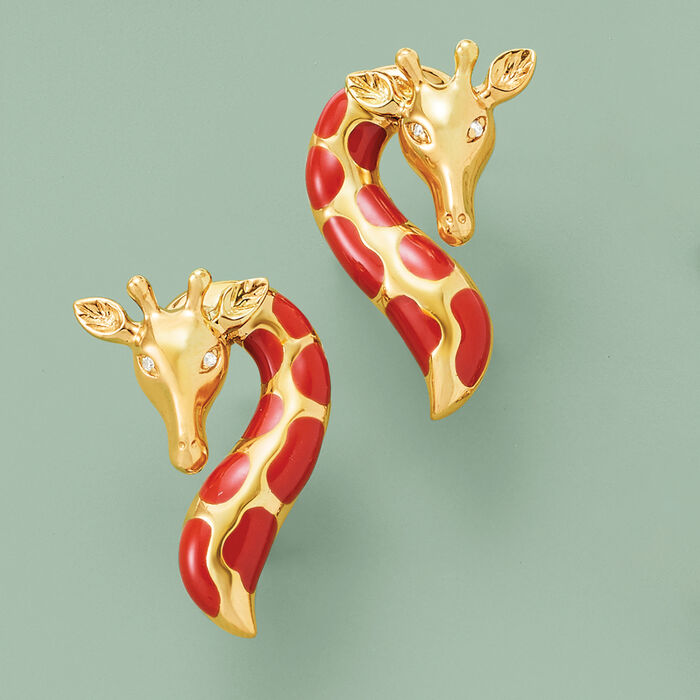 Orange Enamel Giraffe Earrings with Diamond Accents in 18kt Gold Over Sterling
