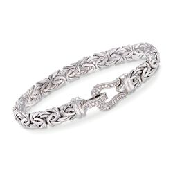 .20 ct. t.w. Diamond Buckle Byzantine Bracelet in Sterling Silver, , default