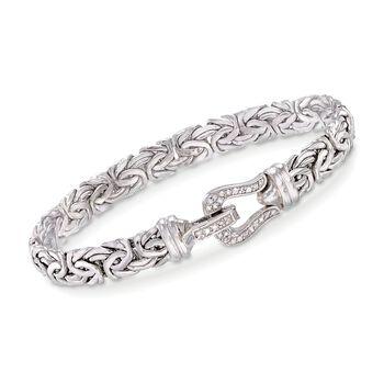 .20 ct. t.w. Diamond Buckle Byzantine Bracelet in Sterling Silver, , default