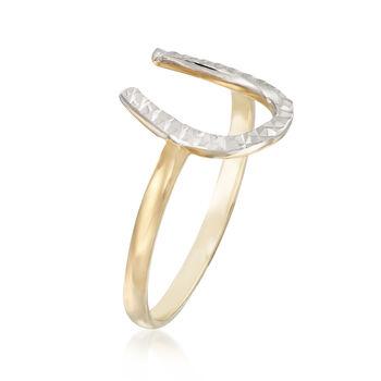 Diamond-Cut and Polished 14kt Two-Tone Gold Horseshoe Ring, , default