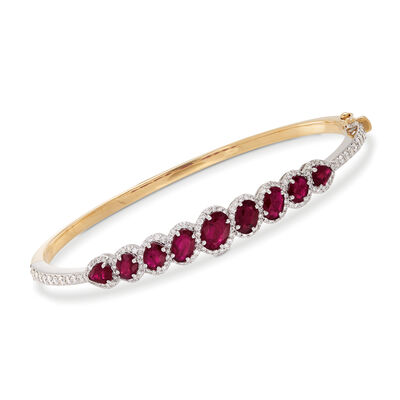 3.90 ct. t.w. Ruby and 1.20 ct. t.w. Diamond Bangle Bracelet in 18kt Yellow Gold, , default