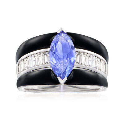 1.60 Carat Tanzanite and .94 ct. t.w. Diamond Ring with Black Agate in 18kt White Gold