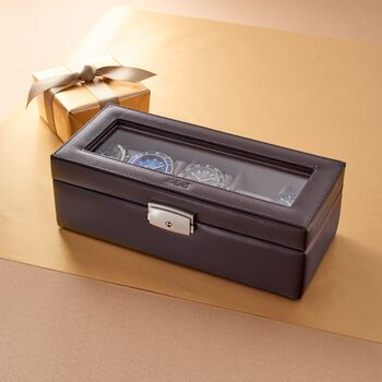 Monogrammed Leather Watch Box
