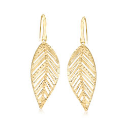 Italian 18kt Yellow Gold Leaf Drop Earrings, , default