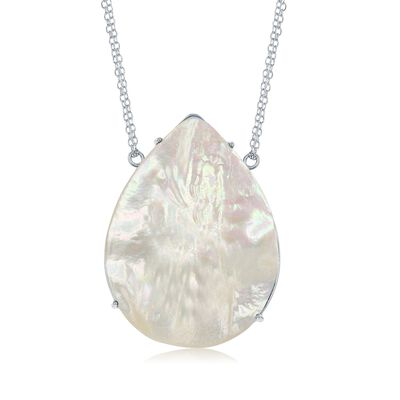 Pear-Shaped Mother-Of-Pearl Necklace in Sterling Silver, , default