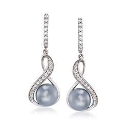 "Belle Etoile ""Liliana"" 10mm Gray Simulated Pearl and .90 ct. t.w. CZ Drop Hoop Earrings in Sterling Silver. 1 1/2"", , default"