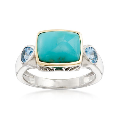 Stabilized Turquoise and .70 ct. t.w. Blue Topaz Ring in Sterling Silver and 14kt Yellow Gold, , default