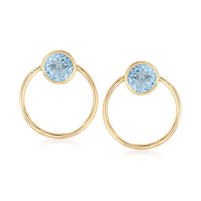 5.00 ct. t.w. Bezel-Set Sky Blue Topaz Open-Circle Drop Earrings in 14kt Yellow Gold