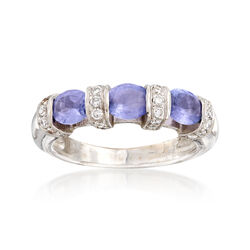 """C. 1990 Vintage 1.00 ct. t.w. Tanzanite and .35 ct. t.w. Diamond Ring in 14kt White Gold. 5.5"""", , default"""