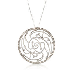 C. 2000 Vintage 1.40 ct. t.w. Diamond Openwork Circle Pendant Necklace in 14kt White Gold, , default