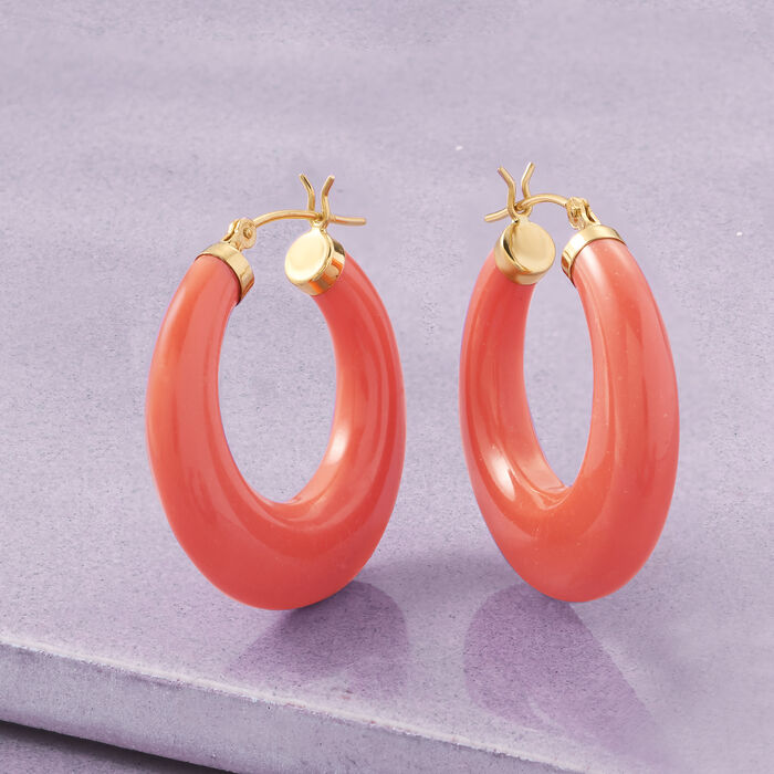 Coral Hoop Earrings in 14kt Yellow Gold