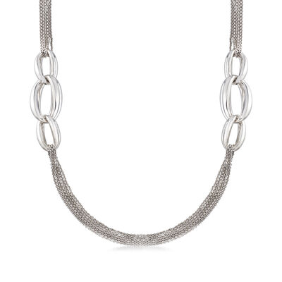 Italian Sterling Silver Multi-Strand Station Oval-Link Necklace, , default