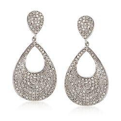 1.00 ct. t.w. Pave Diamond Open-Space Teardrop Earrings in Sterling Silver, , default