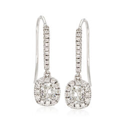 Henri Daussi .97 ct. t.w. Diamond Halo Drop Earrings in 18kt White Gold, , default