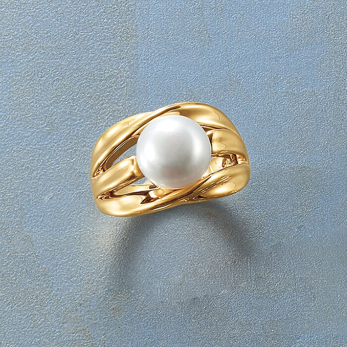 10.5-11mm Cultured Pearl Twisted Multi-Row Ring in 14kt Gold Over Sterling