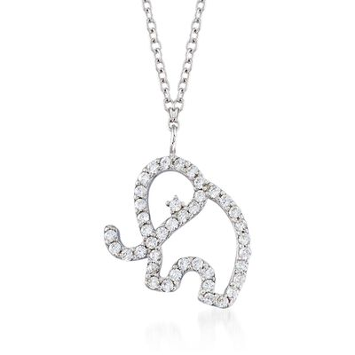 .40 ct. t.w. CZ Open Elephant Pendant Necklace in Sterling Silver, , default