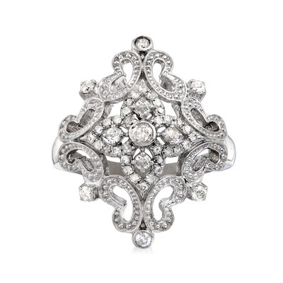 .50 ct. t.w. Diamond Openwork Floral Ring in Sterling Silver, , default