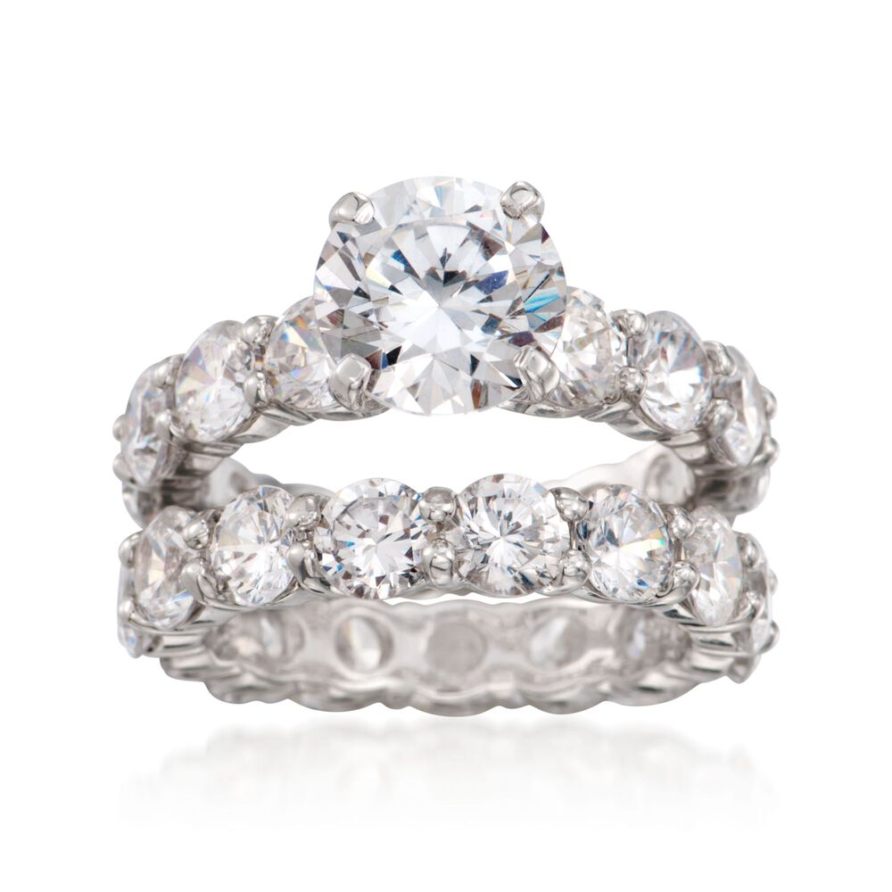 Cz Wedding Sets.14 25 Ct T W Cz Bridal Set Engagement And Wedding Rings In Sterling Silver
