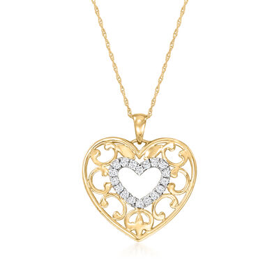 .25 ct. t.w. Diamond Openwork Heart Pendant Necklace in 14kt Yellow Gold