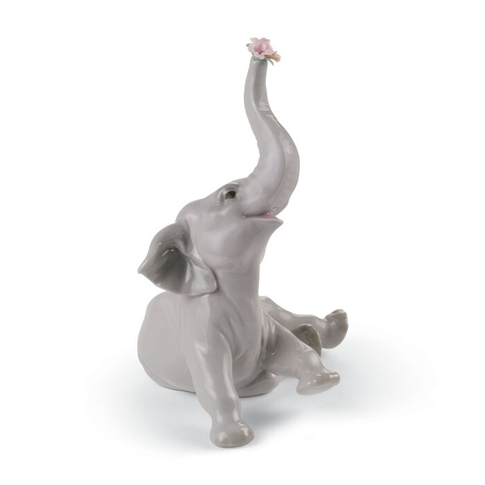 "Lladro ""Baby Elephant with Pink Flower"" Porcelain Figurine"