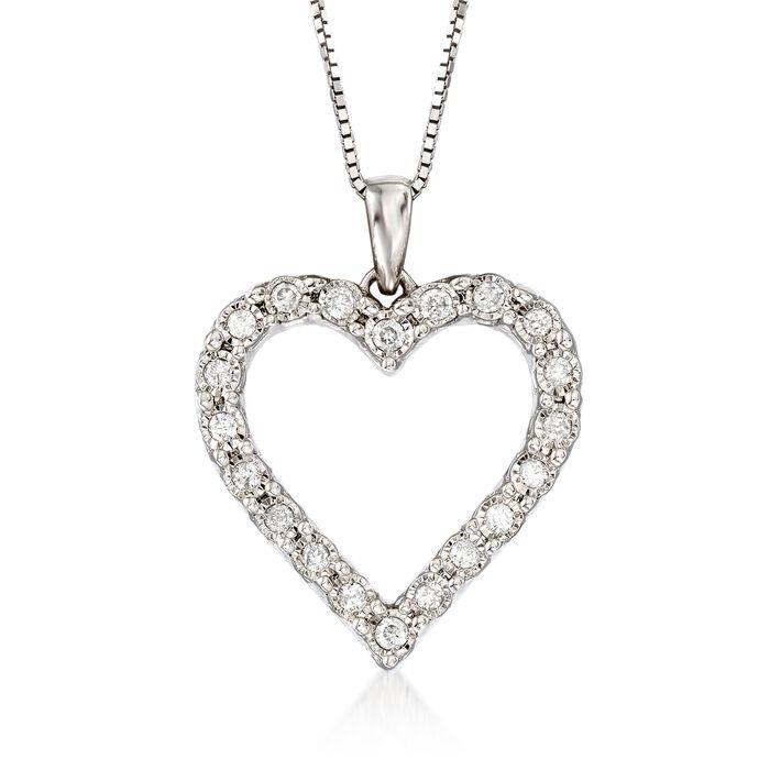 .30 ct. t.w. Diamond Heart Pendant Necklace in Sterling Silver