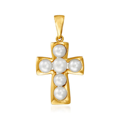 3.5-4mm Cultured Pearl Cross Pendant in 14kt Yellow Gold